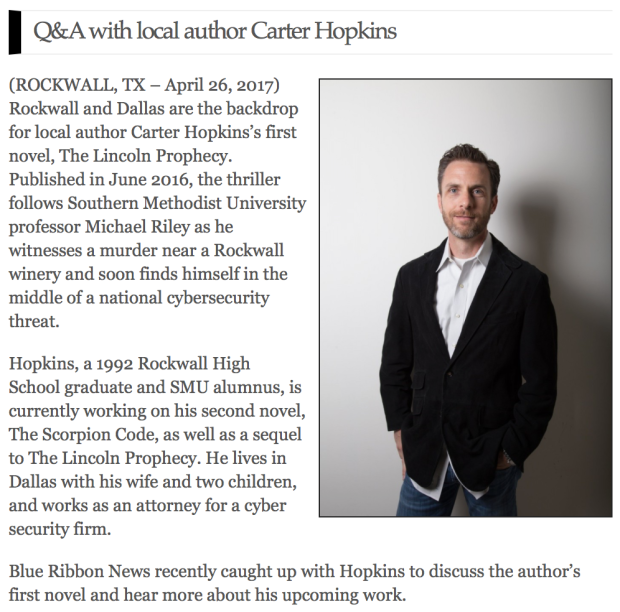 Author Carter Hopkins News